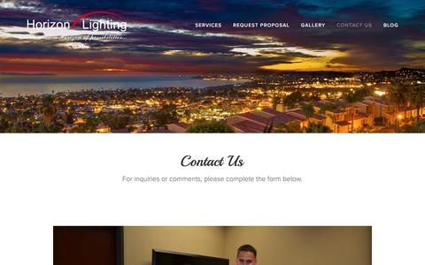 Screenshot of Contact Page horizonlightinginc.com - Contact Us — Horizon Lighting - captured July 16, 2016