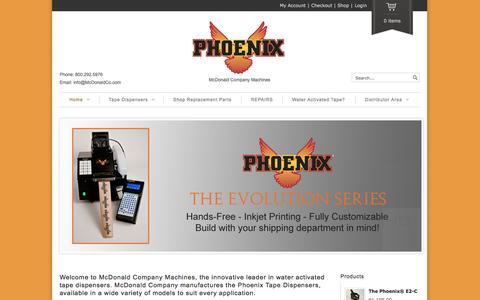 Screenshot of Home Page phoenixtapers.com - Phoenix Tapers | McDonald Company Machines - captured Oct. 6, 2014