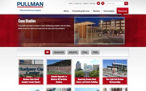 Screenshot of Case Studies Page pullman-services.com - Case Studies | PULLMAN - captured Oct. 17, 2016