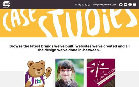 Screenshot of Case Studies Page creative-roar.com captured July 17, 2016