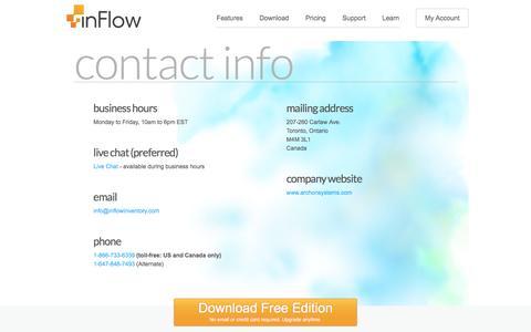 Screenshot of Contact Page inflowinventory.com - inFlow Inventory Software | Inventory System - Contact Info - captured Nov. 6, 2016