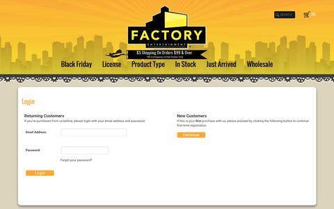 Screenshot of Login Page factoryent.com - Login - captured Nov. 24, 2016