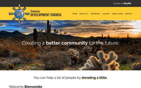 Screenshot of Home Page colonias.org - Colonias Development Council | Nonprofit Organization in New Mexico - captured June 10, 2016