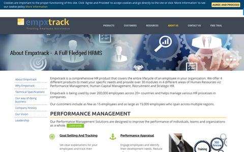 Screenshot of About Page empxtrack.com - Learn About Empxtrack HRMS | Empxtrack - captured Sept. 22, 2018