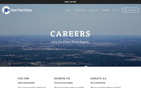 Screenshot of Jobs Page clearpointclaims.com - Careers — Clear Point Claims - captured July 21, 2015