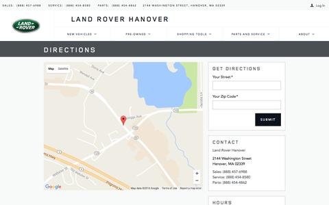 Screenshot of Maps & Directions Page roverhanover.com - Land Rover Hanover | New Land Rover dealership in Hanover, MA 02339 - captured Nov. 26, 2016