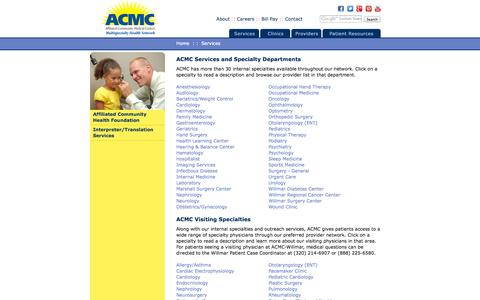 Screenshot of Services Page acmc.com - ACMC Services and Specialties - captured Oct. 4, 2014