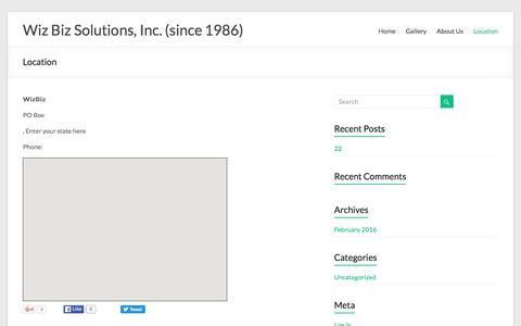 Location – Wiz Biz Solutions, Inc. (since 1986)