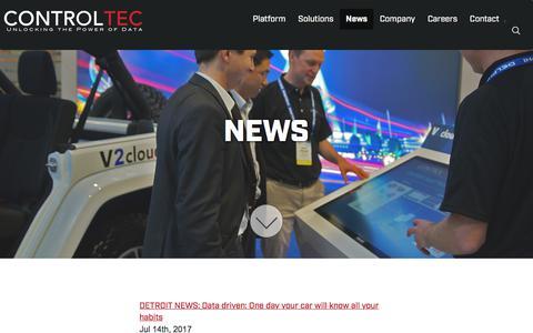 Screenshot of Press Page control-tec.com - News | Control Tec - captured Sept. 25, 2018