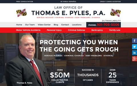 Screenshot of Home Page tompyleslaw.com - Waldorf Maryland Lawyers | Personal Injury, Criminal Defense - captured Jan. 26, 2016