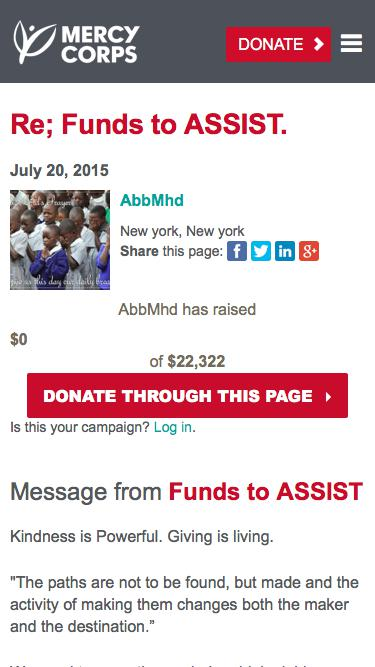 Screenshot of Team Page  mercycorps.org - Donate to Mercy Corps