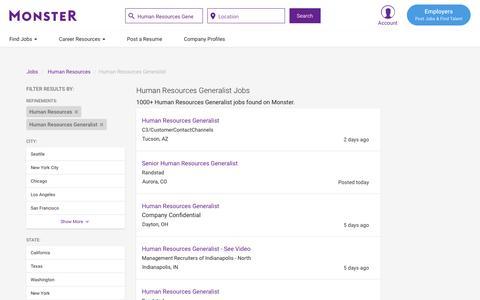Screenshot of Jobs Page monster.com - Human Resources Generalist Jobs - Search Human Resources Generalist Job Listings | Monster - captured May 17, 2017