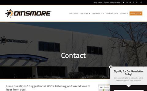 Screenshot of Contact Page dinsmoreinc.com - Contact - Dinsmore, Inc. - captured Oct. 26, 2017