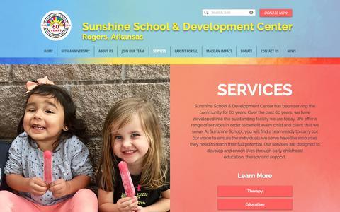 Screenshot of Services Page nwasunshineschool.org - SERVICES | Rogers, AR | Sunshine School & Development Center - captured Oct. 19, 2018