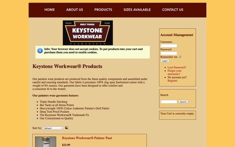 Screenshot of Products Page keystoneworkwear.com - Keystone Workwear® Products | Painters Wear, Uniforms, Outfit | Keystone Workwear - captured Oct. 6, 2014