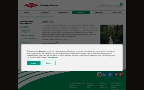 Screenshot of Jobs Page dowagro.com - Career Paths | Dow AgroSciences - captured Oct. 20, 2018
