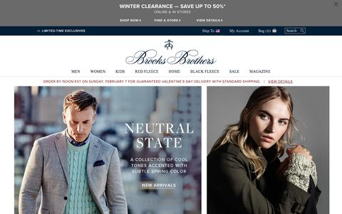 Screenshot of Home Page brooksbrothers.com - Brooks Brothers | Clothing for Men, Women, and Kids - captured Feb. 5, 2016