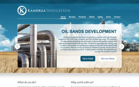 Screenshot of Home Page kandrea.ca - Kandrea Insulation | Oilfield Services - captured Oct. 6, 2014