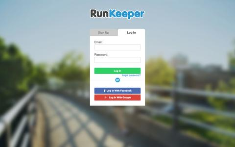 Screenshot of Login Page runkeeper.com - RunKeeper - Log In - captured Oct. 10, 2014