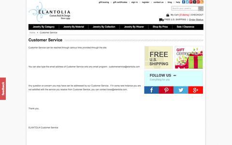 Screenshot of Support Page elantolia.com - Customer Service - captured Oct. 2, 2014