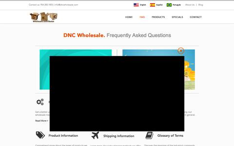 Screenshot of FAQ Page dncwholesale.com - FAQ on Wholesale Clothing, Shoes, Handbags & More - DNC Wholesale - captured Aug. 5, 2018