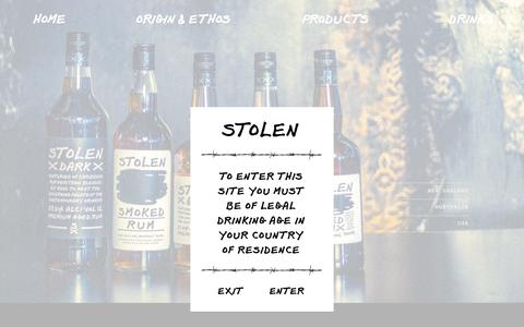 Screenshot of Products Page stolenrum.com - Main product page �  Stolen Rum � Premium Aged Rum - captured Jan. 19, 2016