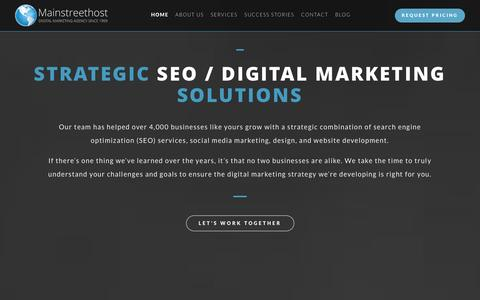 Screenshot of Home Page mainstreethost.com - SEO & Search Engine Marketing Services | Mainstreethost: Digital Marketing Agency Since 1999 - captured Dec. 21, 2015