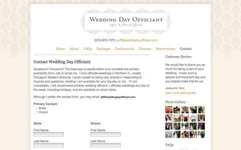 Screenshot of Contact Page weddingdayofficiant.com - Contact Wedding Officiant | Wedding Day Officiant | Wedding Officiant | West Chicago Suburbs - captured Aug. 12, 2016