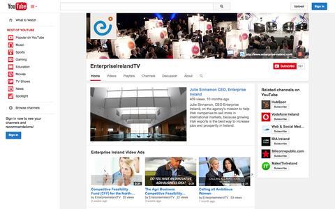 Screenshot of YouTube Page youtube.com - EnterpriseIrelandTV  - YouTube - captured Oct. 26, 2014