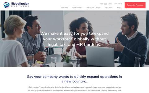 Screenshot of Services Page globalization-partners.com - Global Employer Solutions | Globalization Partners - captured Jan. 3, 2019