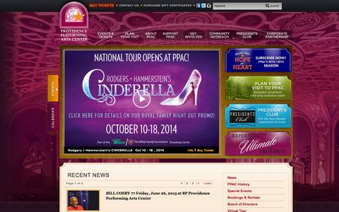 Screenshot of Press Page ppacri.org - Providence Performing Arts Center :: News - captured Oct. 2, 2014