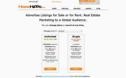 Screenshot of Pricing Page homehippo.com - Advertise Real Estate Listings For Sale and For Rent to a Global Audience. - captured Sept. 19, 2014