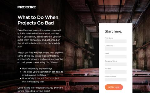 Screenshot of Landing Page procore.com - What to Do When Projects Go Bad - captured March 2, 2018
