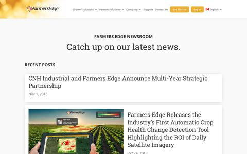 Screenshot of Press Page farmersedge.ca - Newsroom - Farmers Edge - captured Nov. 6, 2018