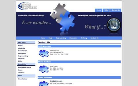 Screenshot of Contact Page pdmsvc.com - PdM Services - Contact Us - captured Oct. 2, 2014