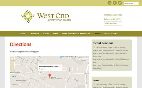 Screenshot of Maps & Directions Page wepc.org - Directions | West End Presbyterian Church - captured Oct. 7, 2014