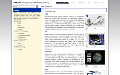 Screenshot of Products Page ama-inc.com - Our Products - captured Oct. 4, 2014