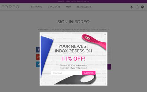 Screenshot of Login Page foreo.com - SIGN IN FOREO | FOREO - captured Nov. 6, 2018