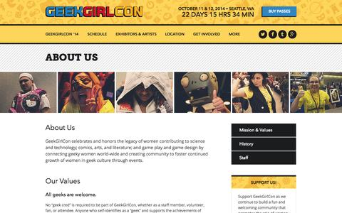 Screenshot of About Page geekgirlcon.com - About Us | GeekGirlCon - captured Sept. 19, 2014