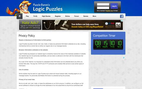 Screenshot of Privacy Page logic-puzzles.org - Logic Puzzles - Privacy Policy - captured Sept. 22, 2018