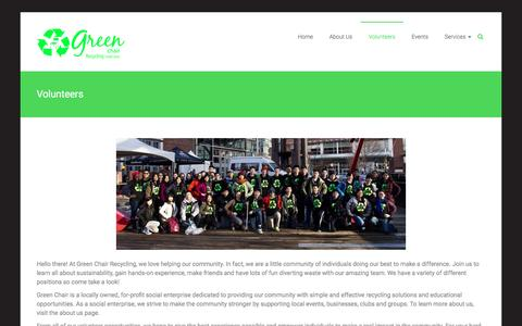Screenshot of Signup Page greenchairrecycling.com - Volunteers - Green Chair Recycling | Recycling made easy - captured July 19, 2016