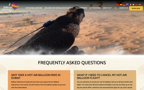 Screenshot of FAQ Page ballooning.ae - Frequently asked questions – Hot Air Balloon Rides Dubai - captured Oct. 5, 2018