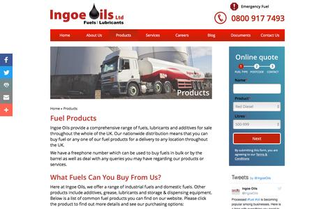 Screenshot of Products Page ingoeoils.co.uk - Fuel Products - Nationwide Fuel Suppliers UK | Ingoe Oils - captured Nov. 26, 2016
