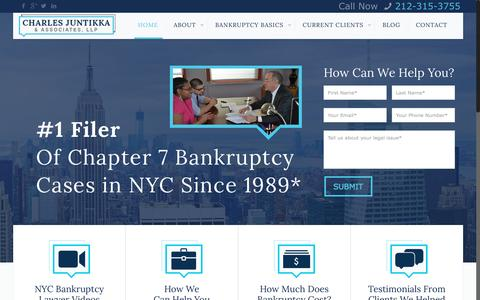 Screenshot of Home Page cjalaw.com - New York City Bankruptcy Lawyers | Most Cases filed in NYCCharles Juntikka & Associates - captured Sept. 20, 2015