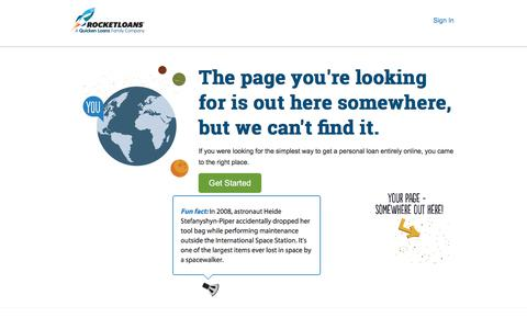 Screenshot of FAQ Page Login Page Terms Page rocketloans.com - RocketLoans | A Quicken Loans Family Company - captured July 9, 2018