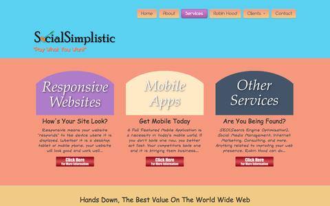 Screenshot of Services Page socialsimplistic.com - Services - Social Simplistic - captured Oct. 9, 2014