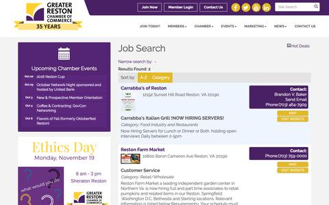 Screenshot of Jobs Page restonchamber.org - Job Search - Greater Reston Chamber of Commerce, VA - captured Sept. 30, 2018