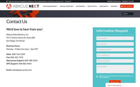 Screenshot of Contact Page abacusnext.com - Abacus Data Systems says... - captured Jan. 4, 2017