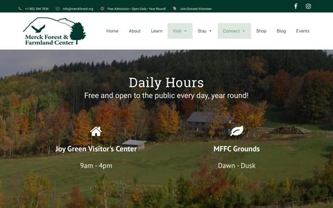 Screenshot of Contact Page Hours Page merckforest.org - Visit - Merck Forest & Farmland Center - captured Oct. 17, 2018