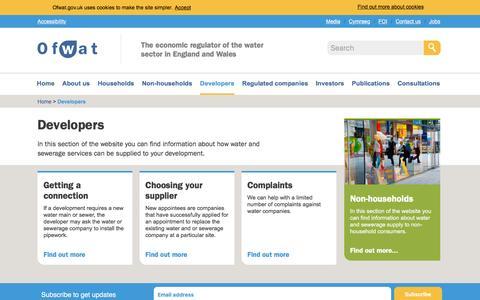 Screenshot of Developers Page ofwat.gov.uk - Developers - Ofwat - captured Nov. 23, 2015